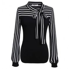 online shopping for Zeagoo Ladies Tie-bow Neck Striped Long Sleeve Splicing Autumn Shirt from top store. See new offer for Zeagoo Ladies Tie-bow Neck Striped Long Sleeve Splicing Autumn Shirt Umgestaltete Shirts, Fall Shirts, Striped Long Sleeve Shirt, Long Sleeve Tops, Long Sleeve Shirts, Long Blouse, Black Blouse, Blouse Neck, Tie Blouse