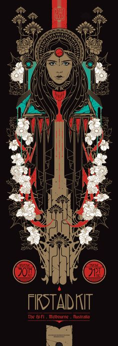 "Beyond The Pale is currently selling a new poster for First Aid Kit by Ken Taylor. It's a 12"" x 36"" screenprint with metallic ink, has an edition of 375, and co"