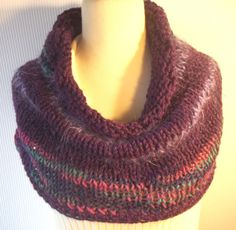 Pretty Purple Striped Knit Cowl Scarf Handmade by LAinstitches, $38.00
