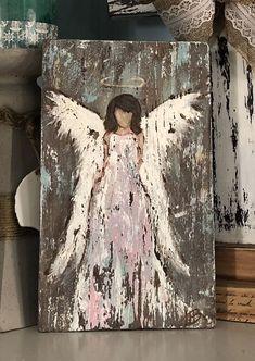 Angel painting on wood, rustic angel hand painted wall decor Angel Wings Art, Angel Wings Painting, Angel Drawing, Angel Art, Angel Paintings, Angel Decor, Rustic Painting, Painting On Wood, Matte Painting