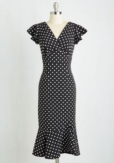 Noteworthy to Self Dress. When you step out in this dotted midi, passersby cant help but be captivated by your film noir flair! #multi #modcloth