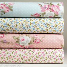 Lot of 4 Fat Quarters Floral 100% Cotton Fabric Pink Blue Quilting Craft s-238