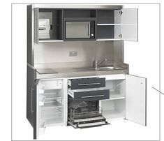 Micro Kitchen, Compact Kitchen, Small Home Offices, Small Apartments, Small Space Living, Small Spaces, Casa Cook, Deco Studio, Murphy Bed Ikea