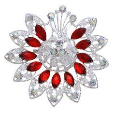 Fashion Exquisite Rhinestone Resin Red Flower Women Wedding Brooch