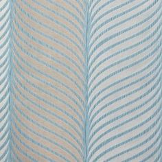 Duck-egg blue ribbon-like lines extend and meet on this medium-weight poly. The beige background alternates between warm and cool on either side of of the center veins. With a pattern reminiscent of leaves, this lightly textured fabric is best for light upholstery or drapery.