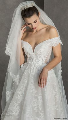 Weddinginspirasi.com featuring - valentini spose spring 2020 bridal off shoulder split sweetheart neckline fully embellished lace a line ball gown wedding dress (7) chapel train romantic princess mv -- Valentini Spose Spring 2020 Wedding Dresses #wedding #weddings #bridal #weddingdress #weddingdresses #bride #fashion ~