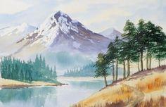 Art Arte Watercolor Acuarelas Beautiful  Paisaje Natural Mountain Río Árboles