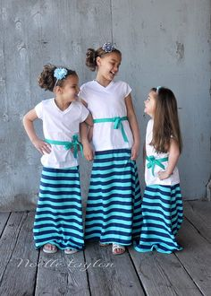 Teal and Navy Striped Maxi Skirt Toddler by LittleDaintyDarlings