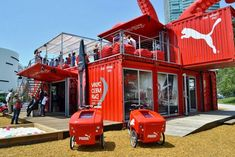 type your description here. Shipping Container Interior, Shipping Container Buildings, Shipping Container Homes, Container Restaurant, Container Shop, Container House Design, Sustainable Architecture, Contemporary Architecture, Restaurant Streets