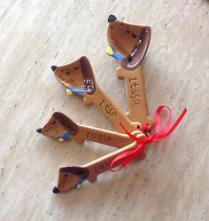 Cute & Original DACHSHUND dog ceramic measuring spoons~I must have these!!