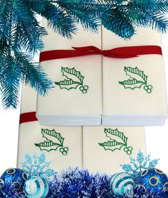 Nature's Linen Disposable Guest Hand Towels Wrapped with a Ribbon 100ct - Christmas / Holiday Collection Embossed with Holly Leaves