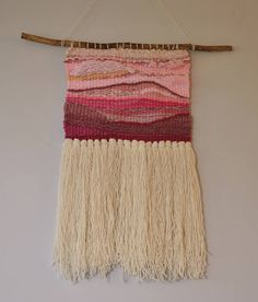 Woven wall hanging tapestry weaving pink tones woven wall