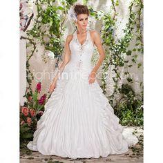 Ball Gown Halter Court Train Taffeta Wedding Dress