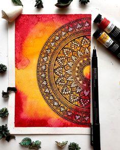 Learn the beautiful art of watercolour mandala. :: :: All you need to know about my Online MANDALA CLASSES Whether you are beginner or… Mandala Art Lesson, Mandala Artwork, Mandala Painting, Doodle Art Drawing, Mandala Drawing, Cool Art Drawings, Mandala Doodle, Dibujos Zentangle Art, Watercolor Mandala