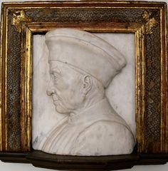 bust length portrait in marble relief by Andrea del Verrocchio of Cosimo de' Medici, circa 1464