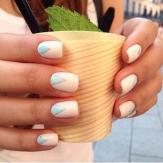 Accurate nails, Blue and white nails, Easy nail designs, Everyday nails, Half-moon nails ideas, Light nails, Spring moon nails, Spring nail art