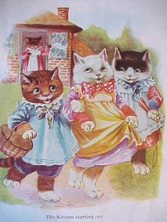 Darling Vintage Book Illustration-The Three Little Kittens