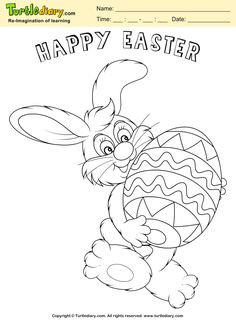 Easter Egg And Bunny Coloring Page Kids Crafts TurtleDiary ChildEducation