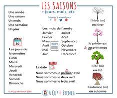 Les saisons mois jours etc French Language Lessons, French Language Learning, French Lessons, Spanish Lessons, Spanish Language, French Learning Books, Teaching French, Teaching Spanish, Teaching Reading