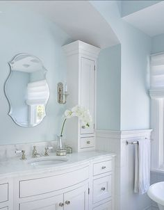 light blue bathroom superb in bathroom farmhouse with blue bathroom next to bathroom shelves alongside french country bathroom and light blue walls light blue bathroom decor White Bathroom, Modern Bathroom, Bathroom Images, Tranquil Bathroom, Master Bathroom, Light Blue Bathrooms, French Bathroom, Boho Bathroom, Master Bedrooms