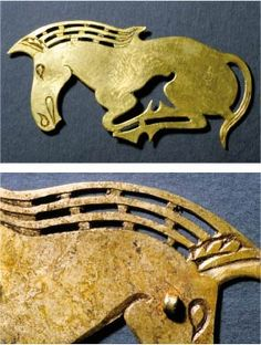 Flat sheet ornaments, with cut contours and decorated with engraving and open work: horse figure from the woman's head ornament.SCYTHIAN ART