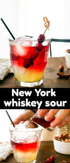 New York Sour cocktail. Drink made with red wine, whiskey and a homemade lemon simple syrup recipe. #cocktail #happyhour #newyorksour