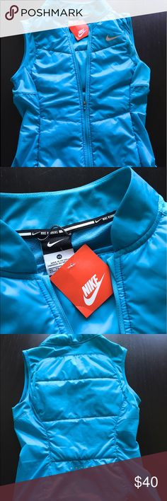 NWT!! NIKE RUNNING VEST RETAIL PRICE 95.00 New with tag!! NIKE  style: vest  Color: blue  Size: x-small Materials: 100% polyester Made in Vietnam  Retail price: 95.00 Nike Jackets & Coats Vests