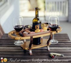 Wine Gift - This Wine Bottle Caddy is perfect for entertaining. What an elegant way to serve your favorite bottle of wine and cheese. Take this wine caddy anywhere in your home or patio.  This beautiful wine caddy is the perfect wine gift for any occasion including birthdays, weddings and anniversaries.