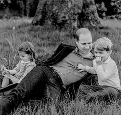 """ ❥ The Duke of Cambridge with his children Prince George and Princess Charlotte photographed by Norman Jean Roy for GQ Magazine at Kensington Palace on April 20,2017. """