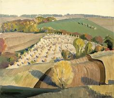 """""""Fall Plowing,"""" study by Grant Wood, oil on Masonite. In the collection of The Figge Art Museum, Davenport, IA. American Realism, American Artists, Landscape Illustration, Illustration Art, Landscape Sketch, Grant Wood Paintings, Art Grants, Wooded Landscaping, Art Fund"""