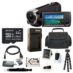 Sony HD Video Recording HDRCX440 HDRCX440B Handycam Camcorder   Sony 32GB SDHC/SDXC Class 10 Memory Card   Extra Battery Pack and Charger   Spider Tripod   Case   Deluxe Accessory Bundle *** Check out the image by visiting the link.