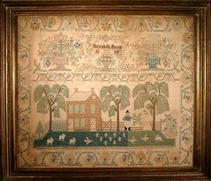 A large scenic Philadelphia needlework worked by Elizabeth Jolley in 1824 and recorded in the landmark text American samplers by Bolton and Coe, page 181. This exceptionally well executed work is similar to examples in Betty Ring, Girlhood Embroidery, pages 366-368.
