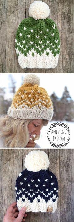 Mountain Toque, Knitting Pattern, Fair Isle, Fair Isle Knit Hat, Chunky Fair Isle, Knit Hat, Knit Hat Pattern, Pattern, Knit Beanie Pattern #etsy #pattern #ad #knit