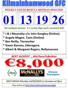 Kilmainhamwood GFC Lotto & News The Numbers Drawn : 26 . Lotto Winners, Jackpot Winners, Super Lotto, Lotto Draw, Ben Reilly, Number Drawing, I Am Grateful, Online Tickets, Abc News