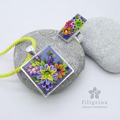 SALE! 35 eur (old price: 42 eur) GARDEN floral ring + pendant, in silver tone metal bezel, Polymer clay filigree applique technique