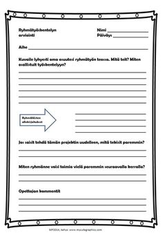 Ryhmätyön arviointia (in Finnish) by Maria Pernu Student Self Assessment, Formative Assessment, Teaching Schools, Teaching Social Studies, Teacher Notes, Study Skills, Group Work, School Classroom, Primary School