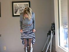 How to temporarily shorten a maxi dress for winter. Smart!