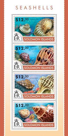 Post stamp Solomon Islands SLM 15211 aSeashells (Tegillarca nodifera, Harpa cabriti, Gyrineum natator, Babylonia spirata,
