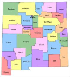 ~Counties of New Mexico~ the tiniest one is Los Alamos New Mexico Style, New Mexico Homes, New Mexico Usa, Vacation Places, Vacation Spots, Places To Travel, Roosevelt, New Mexico Santa Fe, Valencia
