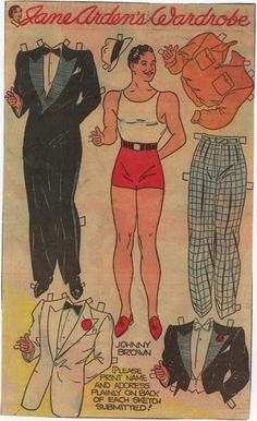 Dapperly attired Johnny Brown for Jane Arden paper doll fashions. man vintage 1950s paper doll paperdoll fashion clothing