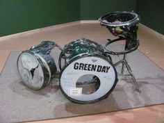 Tre Cool's drum kit set on fire after a show in Cleveland, OH