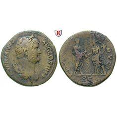 Römische Kaiserzeit, Hadrianus, Sesterz 134-138, ss: Hadrianus 117-138. Messing-Sesterz 31 mm 134-138 Rom. Drapierte Büste r. mit… #coins