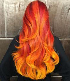 Fire Hair Is the Hottest New Rainbow Hair Color Trend Hair Color 2016, Yellow Hair Color, Bright Hair Colors, Cool Hair Color, Hair Colours, Colorful Hair, Fire Hair Color, Bold Colors, Fire Ombre Hair
