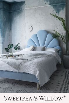A beautifully curvaceous seashell, mid-century inspired bed, upholstered in a luxurious pastel blue velvet and finished with gold tapered feet for an added touch of contemporary glamour. This elegant bed is ideal for adding a dramatic flair to any bedroom and it's gorgeous blue tone is on trend with Dulux's bright skies shade being the colour of 2022. Perfect for adding an Art-Deco feel to minimalist interiors. #sweetpeaandwillow Bedroom Bed, Bedroom Decor, Design Bedroom, Furniture Making, Home Furniture, Bed Maker, Art Nouveau, Upholstered Bed Frame, Bed Styling