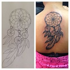 7 Dreamcatcher back tattoo design. #tattoos #dreamcatcher #tattooideas #tattooswag