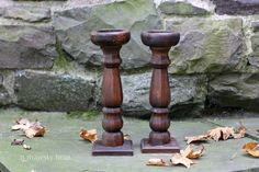 Pair of Wooden Candlestick Holders.Vintage. by NorthMajestyTrail