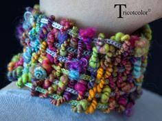 """Echarpe main tissage tricotin """" Electrik color """""""
