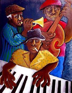 Jazz Trio Musicians Whimsical Folk Art Giclee ~ by reniebritenbucher,