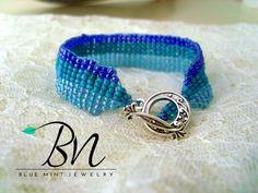 Items similar to Sea waves,loom bead bracelet on Etsy Mint Jewelry, Sea Waves, Loom, Handmade Jewelry, Beaded Bracelets, Beads, Blue, Etsy, O Beads
