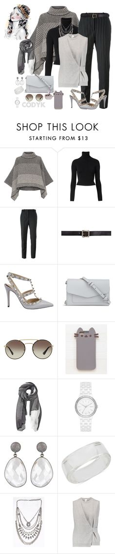 """Black & Gray Stripes"" by cody-k ❤ liked on Polyvore featuring Piazza Sempione, Witchery, Givenchy, Maison Margiela, Valentino, Vera Bradley, Prada, Pusheen, Furla and DKNY"